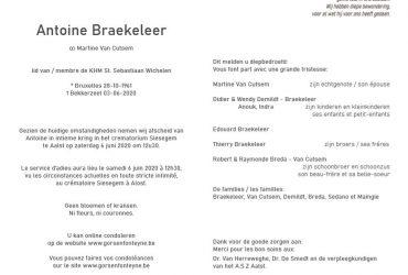 Overlijden Antoine Braekeleer
